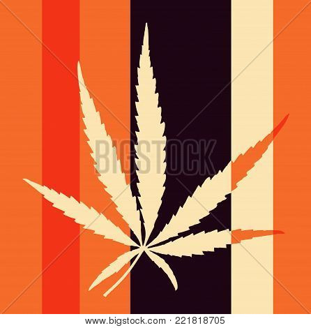 Tabby Pop Art  Style Herbarium Collage - Vector Dried Cannabis Leaf
