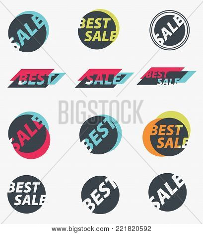 Set of sale discount signs. Vector illustration