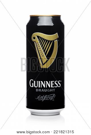 LONDON, UK - JANUARY 02, 2018: Aluminium can of Guinness draught beer on white background. Guinness beer has been produced since 1759 in Dublin, Ireland.