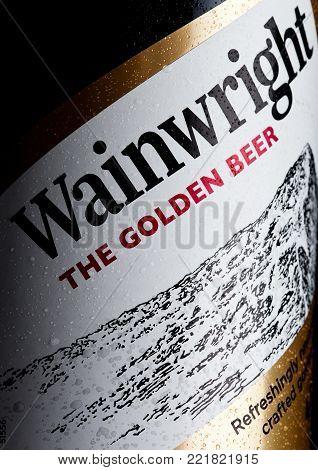 LONDON, UK - JANUARY 10, 2018: Bottle label of Wainwright golden beer on white .background