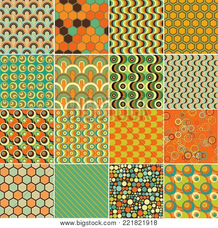 Vintage Textile Pattern Set - Abstract Vector Old-Fashioned Motif