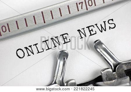Typewriter detailed macro closeup, journalist typing text online news, large retro detail, vintage newsletter bulletin, organization mass media journalism metaphor concept studio shot, horizontal