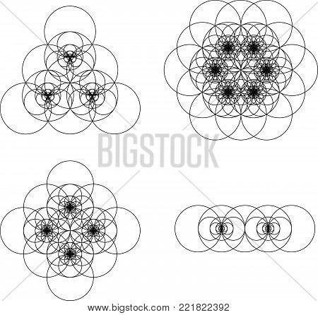 Vector Computer Generated   Flower of Life Symbol Fractals - Generative Art Set
