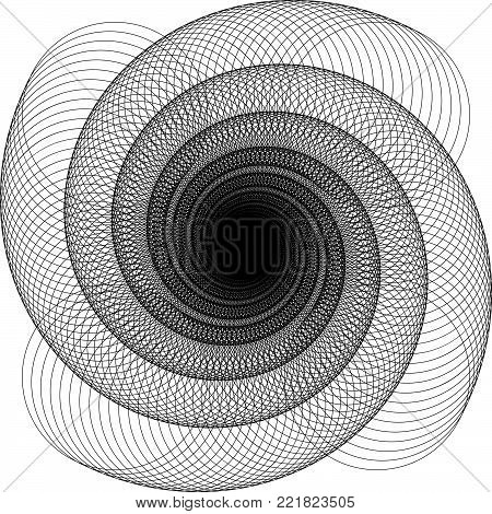 Vector Wavy Twirl Annular Rosette - Graphic Element - Generative Art