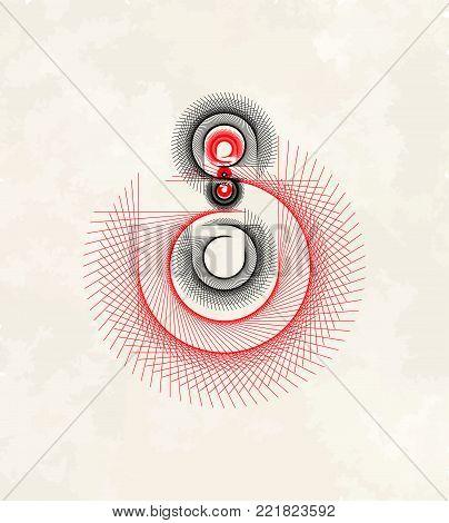 Vector Mathematical Spirograph Graphic Lines Logo Element - Generative Art