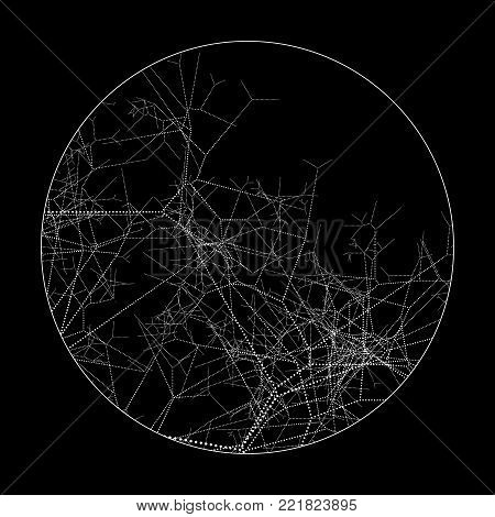 Vector Round Dotted Branchy Element - Black and White Circle