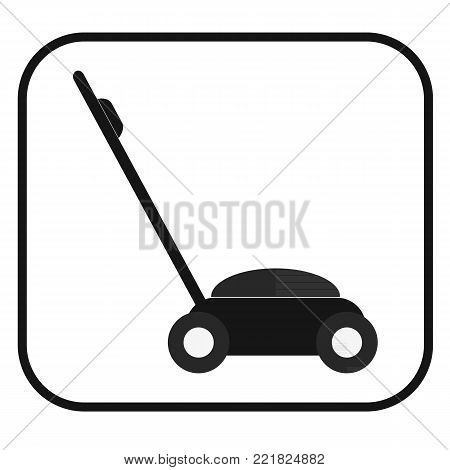 Black Lawnmower icon on a white background
