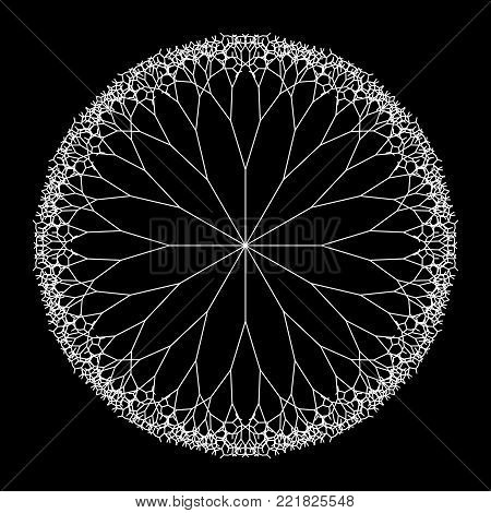 Round Vector Computer Generated L-system Branching Fractal - Pythagorean Tree Mandala - Generative Art
