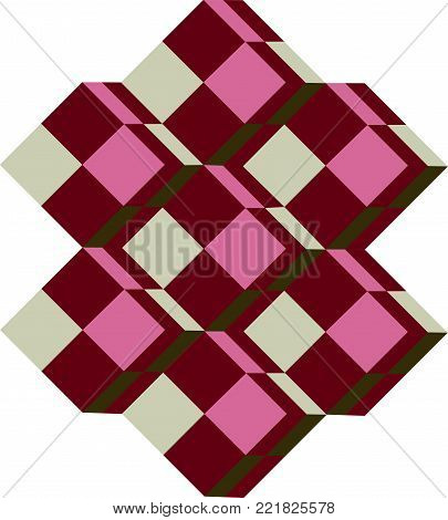 Victor Vasarely Style Pattern - Abstract Vector Old-Fashioned Op Art  Tridem Motif