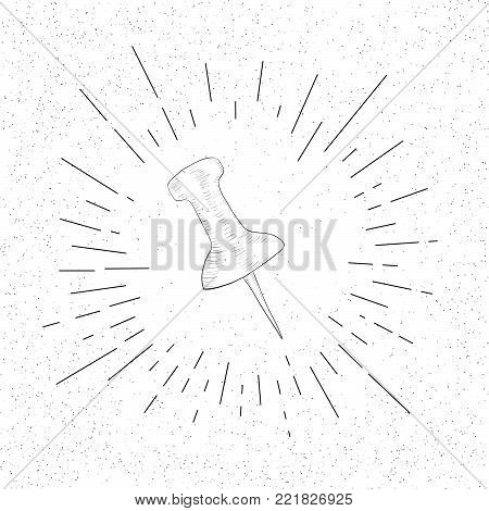 Hand Drawn Symbol of   Clerical Office Push Pin - Thumbtack Doodle Vector Hatch Icon