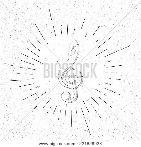 Hand Drawn Symbol of Treble Musical Violin G-clef Sign - Doodle Vector Hatch Icon
