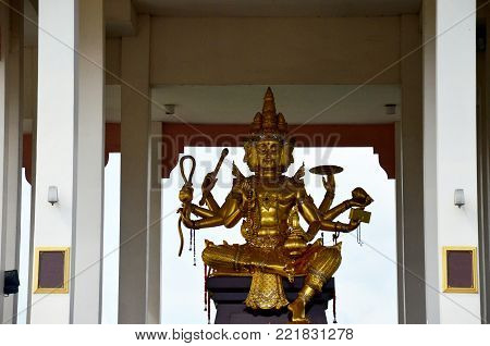 Lord Brahma is a creator god in Hinduism also known as Svayambhu in shrine beside road at Sing Buri, Thailand
