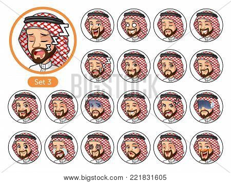 The third set of Saudi Arab man cartoon character design avatars with different facial emotions and expressions, cry, sleep, pissed of, embarrassed, fear, triumph, confused, fear, etc. vector illustration.