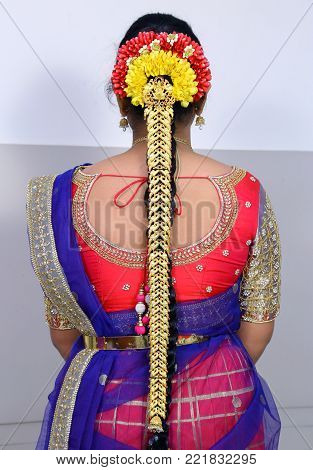 South Indian Girl's Braid Style in Wedding