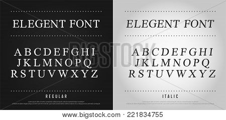 classic alphabet Uppercase letters set. Exclusive Custom Letters. alphabet designs for logo, Poster, Invitation, etc. Typography font classic style, regular and italic vector illustrator