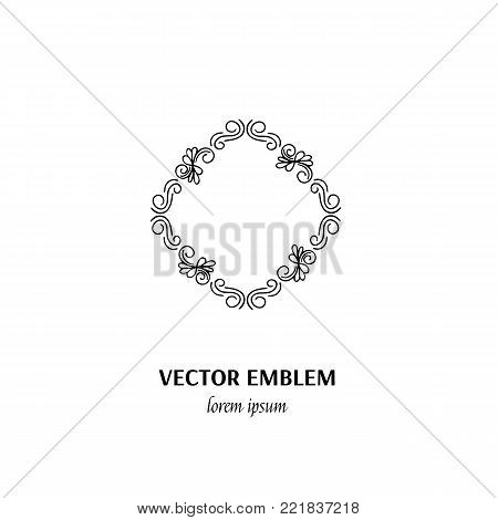 Vector flower frame symbol. Handdrawn logotype for flower shop isolated on white background and easy to use. Perfect logo for your business. Clean and minimalistic symbols.