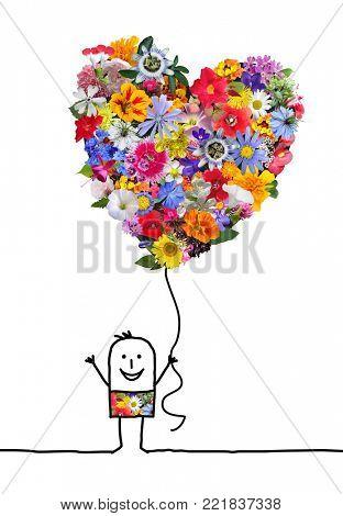 Cartoon Character with Big Heart  Flowers Balloon
