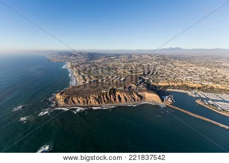 Aerial view of Dana Point on the Southern California pacific coast.