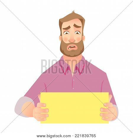 Man holding blank paper. Hands holding blank advertising card