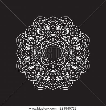Vector mandala. Round ornamental contour mandala. Perfect for logo, oriental decoration, coloring books. Indian, Islam, Arabic motifs. Vector hand drawn illustration.