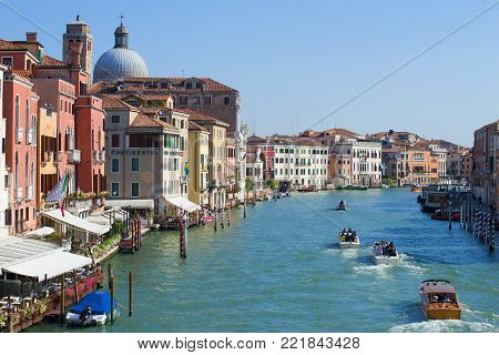 VENICE, ITALY - SEPTEMBER 28, 2017: Grand canal on a sunny September day
