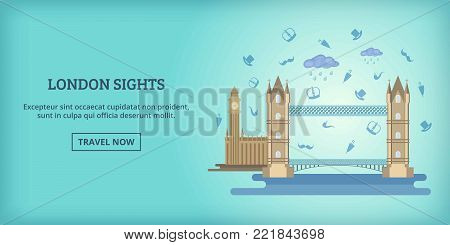 London buildings banner horizontal concept. Cartoon illustration of London buildings banner horizontal vector for web