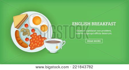 English breakfast banner horizontal concept. Cartoon illustration of english breakfast banner horizontal vector for web