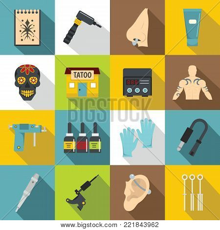 Tattoo parlor icons set. Flat illustration of 16 tattoo parlor vector icons for web