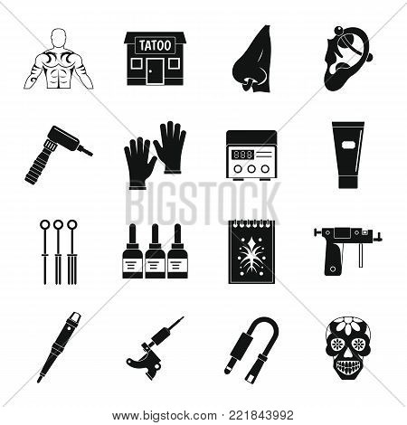 Tattoo parlor icons set. Simple illustration of 16 tattoo parlor vector icons for web