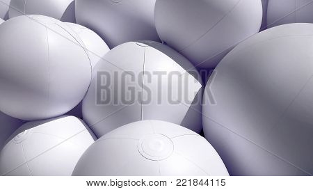 Background of Pile of White Inflated Balls