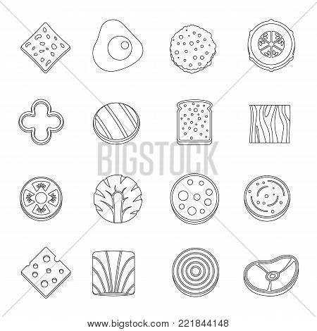 Slice food ingredient icons set. Outline illustration of 16 slice food ingredient vector icons for web