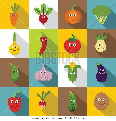Smiling vegetables icons set. Flat illustration of 16 smiling vegetables vector icons for web