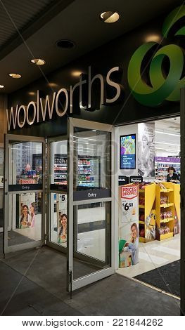 Sydney, Australia - November 03, 2017: Woolworths is a major Australian supermarket chain with more than 900 stores. This is Town Hall store entrance in Sydney.