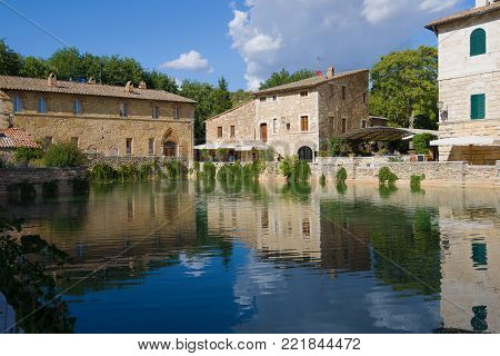 BANJO WYNGONI, ITALY - SEPTEMBER 23, 2017: A sunny September day at the ancient thermal pool