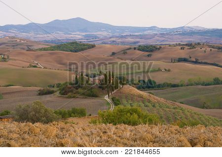 TUSCANY, ITALY- SEPTEMBER 20, 2017: September morning landscape in the neighborhood of San Quirico d'Orcia. Italy