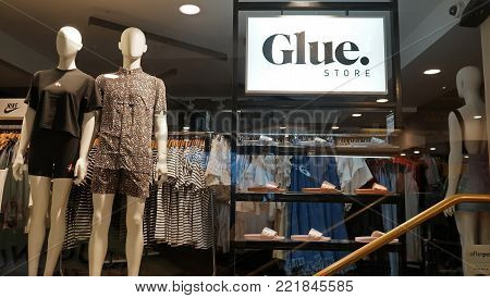 Sydney, Australia - November 03, 2017: Glue fashion and clothing outlet store entrance. For two decades Glue Store has been youth-oriented fast fashion trusted Australian retailer.