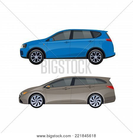 Modern passenger cars hatchback for families, long trips and travel, transportation of luggage. A trip around the city on machine, shopping, entertainment and hobbies by car. Vector illustration.