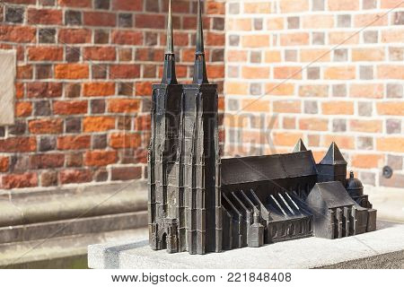 WROCLAW - POLAND, JULY 12, 2017: Wroclaw Cathedral (Cathedral of St. John the Baptist), gothic style 13th century church on Ostrow Tumski Island, miniature for the blind. It  is the seat of the Roman Catholic Archdiocese of Wroclaw