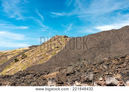 Detail of the hardened lava flow. Mount Etna Volcano, Sicily island, Catania, Italy (Sicilia, Italia)