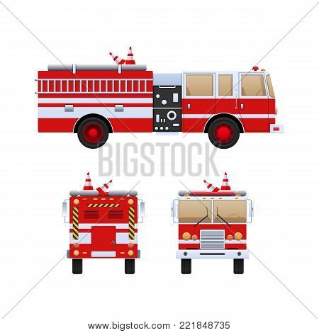 Fire Department. Red truck with white stripes, eliminating fire and fire, help in putting out. The car is a fire truck. Front, side and rear view. Vector illustration in flat style.