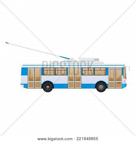Passenger public modern urban transport: municipal trolley bus and intercity bus. Transportation of passengers. Side view. Vector illustration in flat style.