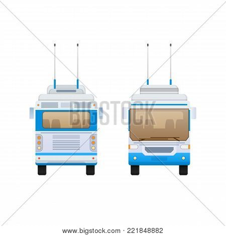 Passenger public modern urban transport: municipal trolley bus and intercity bus. Transportation of passengers. Front and rear view. Vector illustration in flat style.