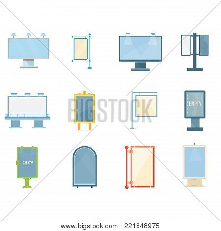 Set of colorful billboards, fashionable outdoor advertising. Beautiful shields, a place for advertising billboard and posters. Posters, exhibition stand, marketplace. Vector illustration.