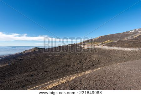Slope with hardened lava flow. Mount Etna Volcano, Sicily island, Catania, Italy (Sicilia, Italia), Europe