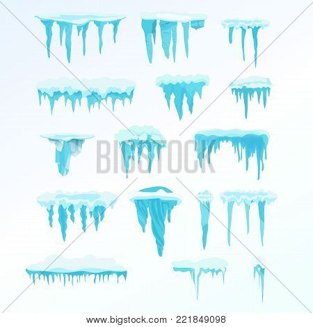Set of winter snow icicles, snowballs. Icicles on light background, christmas snowflakes, snowdrifts, christmas decorations, drifts. Winter season. Snow, ice cap. Illustration isolated in flat style