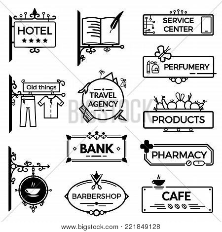 Modern vintage wrought metal signboards and plastic retro billboards products. A signboard for a hotel, a library, a shop, a cafe, a real estate agency, a bank, a hair salon, a pharmacy. Fencing, with the symbols of institutions.