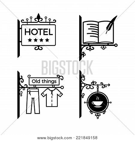 Modern vintage wrought metal signboards and plastic retro billboards products. A signboard for a hotel, a library, a shop, a cafe. Fencing, with the symbols of institutions.