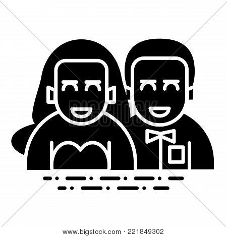 wedding couple flat, line icon. newlyweds vector icon on white background. Valentine Day concept. Solid design