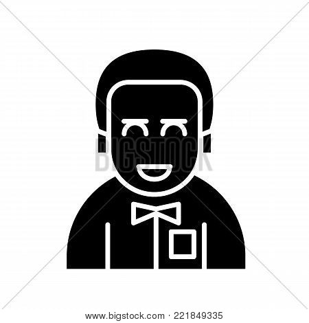 Male avatar icon suitable for info graphics, websites and print media and interfaces. Line vector icon. man with a tie. bridegroom. Solid design