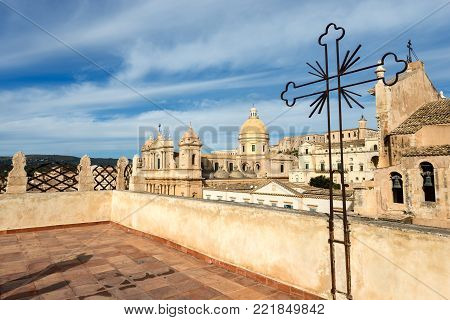 The small town of Noto with the basilica and cathedral of St. Nicholas of Myra (San Nicolo) in Sicilian baroque style. Syracuse, Sicily island, Italy, Europe